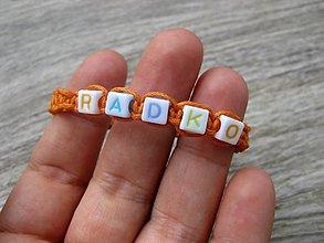 Detské doplnky - Chlapčenský pletený náramok s menom (RADKO  č.1102) - 8407901_