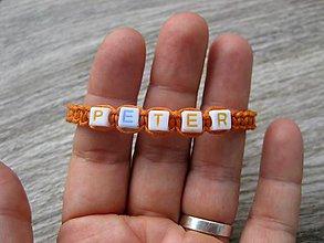 Detské doplnky - Chlapčenský pletený náramok s menom (PETER č.1105) - 8407982_