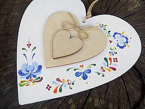 Dekorácie - Veľké maľované srdce folklór - 8408730_