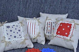 Úžitkový textil - Dekoračné vankúšiky námornické..sada 4 ks - 8412534_