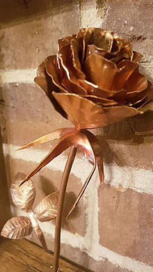 Dekorácie - Medená ruža v rámiku - 8411975_