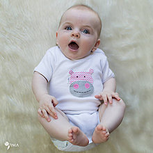 Detské oblečenie - body RUŽOVÝ HROŠÍK cik-cak (dlhý/krátky rukáv) - 8410345_