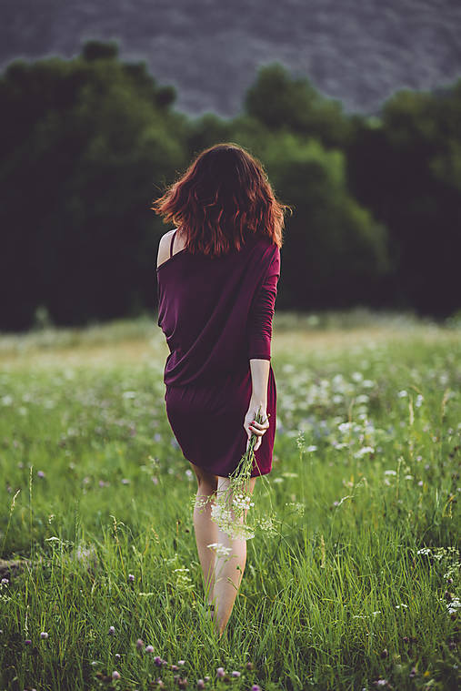 Šaty - jesenné burgundy - 8410824_
