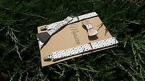 - Detský set - drevený motýlik a traky - 8410292_