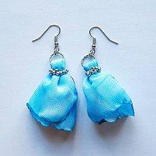 Náušnice - Textilné náušnice Blue Sky- 30% zľava - 8411400_