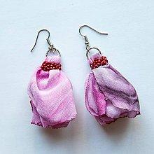 Náušnice - Textilné náušnice Pink- 30% zľava - 8411453_