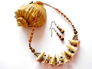 Sady šperkov - Mušlový náhrdelník s náušnicemi - 8410244_