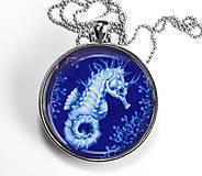 Morský koník tmavomodrý - autorský náhrdelník velký