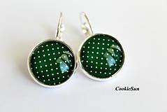 Náušnice - Dots Dark Green - 8410860_
