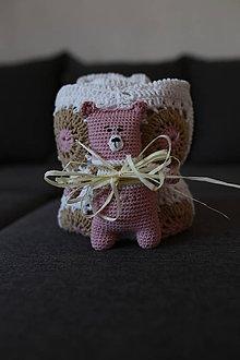 Textil - Deka biela kapučíno staroružová +darček - 8410445_