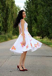 Šaty - BIele šaty s kvetmi - 8414009_