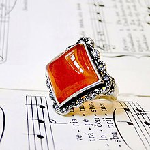 Prstene - Barocco Carnelian Square Ring / Starostrieborný barokový prsteň s karneolom - 8415169_