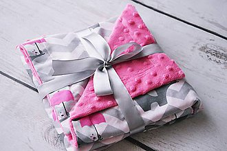 Textil - Minky deka cyklamenová so sloníkom 70*70cm - 8414026_