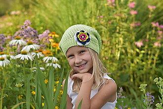 Detské čiapky - Jabĺčkovo zelená čiapka - 8413471_