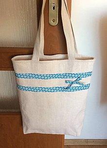 Nákupné tašky - ľanová taška s kvietkom - 8415031_