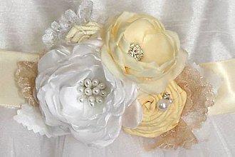 Opasky - Kvetinový opasok pre nevestu - 8414954_