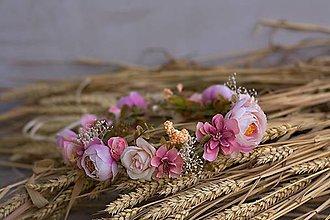 Ozdoby do vlasov - Kvetinový venček do vlasov lososový - 8414517_