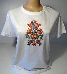 Tričká - Biele tričko folk - 8414410_