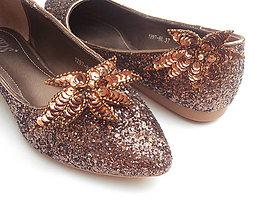 Obuv - Medené metalické balerínky s klipmi na topánky - 8413076_