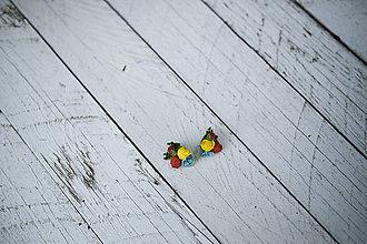 "Náušnice - Kvetinové napichovačky ""namaľuj mi dúhu"" - 8412816_"