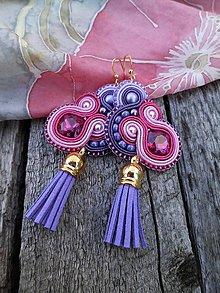 Náušnice - S fialovými strapčekmi - šujtášové náušnice - 8415689_