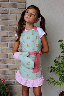 Detské oblečenie - zásterka mini Alenka s 2 rukavicami - 8416864_