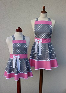 Iné oblečenie - zástery pre mamu a dcérku Loli sivá - 8417555_