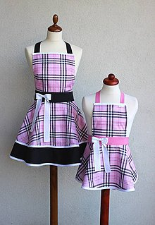 Iné oblečenie - zástery pre mamu a dcéru Káro ružové - 8417765_