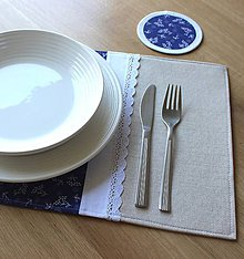 Úžitkový textil - prestieranie Čarovná modrotlač+ľan - 8417950_