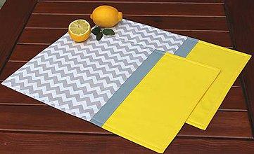 Úžitkový textil - prestieranie Cik-cak sivo-žltá - 8417998_