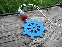 Dekorácie - Závesná dekorácia...námornické kormidlo modré tmavé - 8419202_