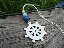 Dekorácie - Závesná dekorácia...námornické kormidlo modré tmavé - 8419212_