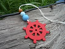 Dekorácie - Závesná dekorácia...námornické kormidlo červené - 8419217_
