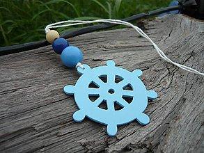 Dekorácie - Závesná dekorácia...námornické kormidlo modré svetlé - 8419207_