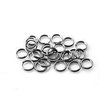 Komponenty - Dvojité spojovacie krúžky - hematit, 6mm/20ks - 8417916_