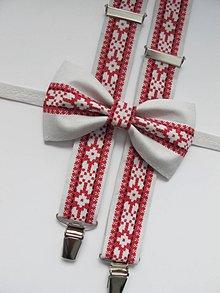 Doplnky - Pánsky motýlik a traky- ľudový set - 8417198_