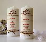 Svietidlá a sviečky - Sviečka s venovaním pre svadobných rodičov - 8416398_