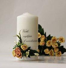 Svietidlá a sviečky - Sviečka s venovaním dekorovaná kvetmi - Goldenrod - 8418447_