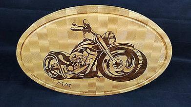 Pomôcky - Doska na krájanie s intarziou motorky Harley Davidson - 8416280_