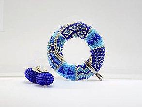 Náhrdelníky - Háčkovaný prívesok Donut Cobalt II - 8419149_