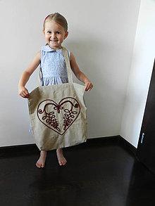 Nákupné tašky - Ľanová nákupná taška - Cifrované srdce - 8419080_