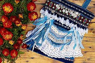 Kabelky - Výpredaj! Jeansová tote taška vo viktoriánskom boho štýle - 8417468_