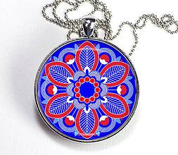 Náhrdelníky - Rozeta ľudová - autorský náhrdelník dlhý - velký - 8416595_