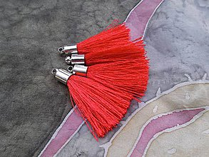 Polotovary - Strapce hodvábne červené - pár - 8417041_