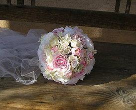 Kytice pre nevestu - svadobná kytica:pudrovo ružová... - 8417962_