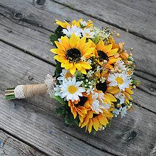Kytice pre nevestu - Svadobná kytica slnečnice s margarétkami - 8422257_