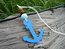 Dekorácie - Závesná dekorácia..námornická kotva modrá tmavá - 8419504_