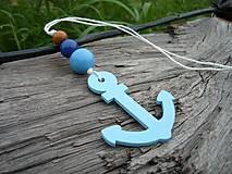 Dekorácie - Závesná dekorácia..námornická kotva modrá svetlá - 8419574_