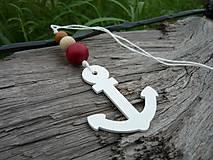 Závesná dekorácia..námornická kotva biela