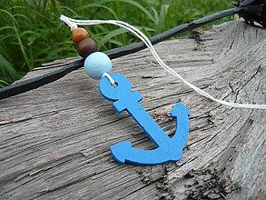 Dekorácie - Závesná dekorácia..námornická kotva modrá tmavá - 8419503_